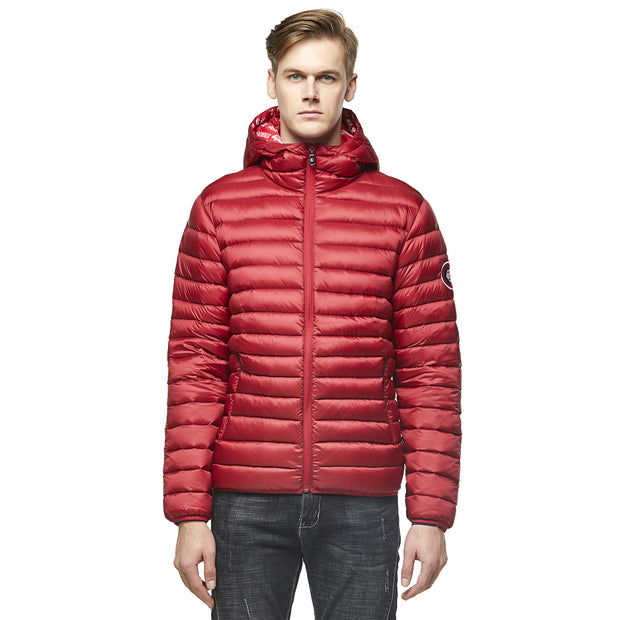 Men's Goose Down Puff Jacket Glacier  - Burgundy RED size S M L XL