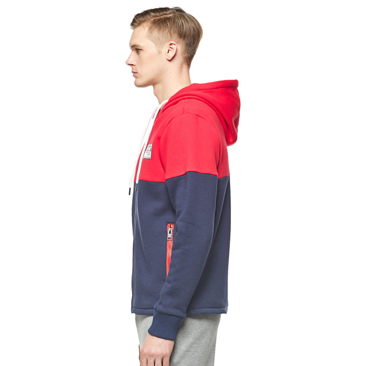 50:50 Men's Heavy Duty Hoodie - Navy / Red size S M L XL
