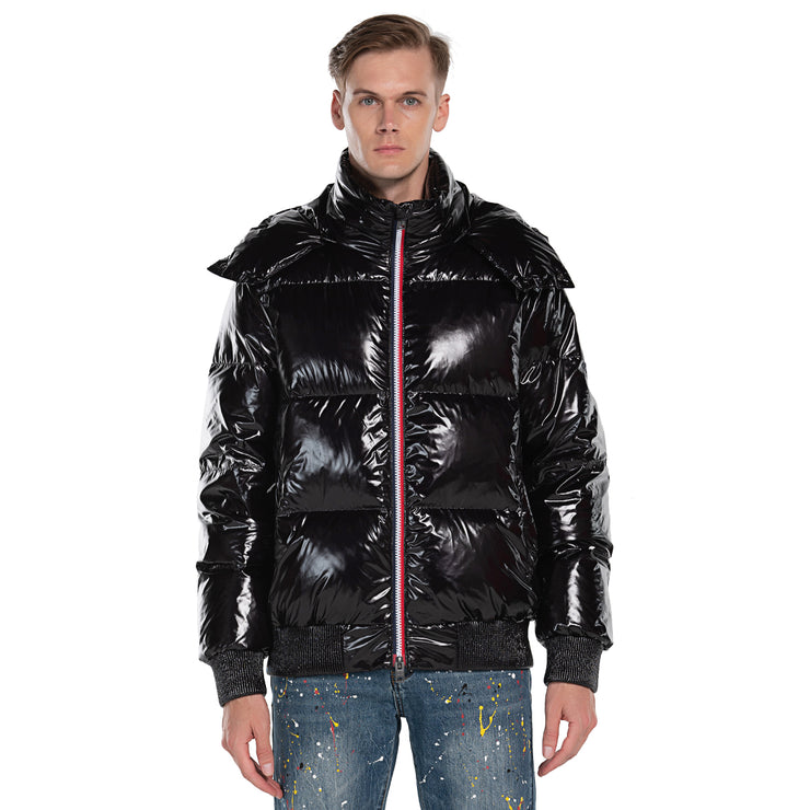 Men's Down Puff Jacket in Pure Goose Shiny Colours Silver and Black size S M L XL