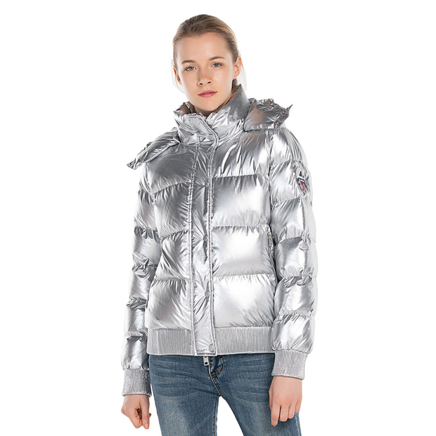 Women's Down Puff Jacket  in Pure Goose Shiny Colours Silver and Black S M L XL