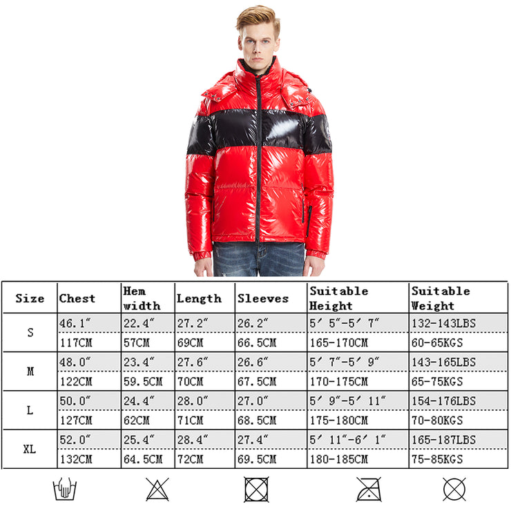 Mens winter Jacket Glossy Shiny Goose Down