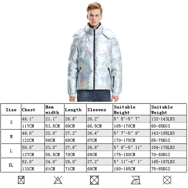 Mens Winter Jackets Goose Down Laser Silver Colour