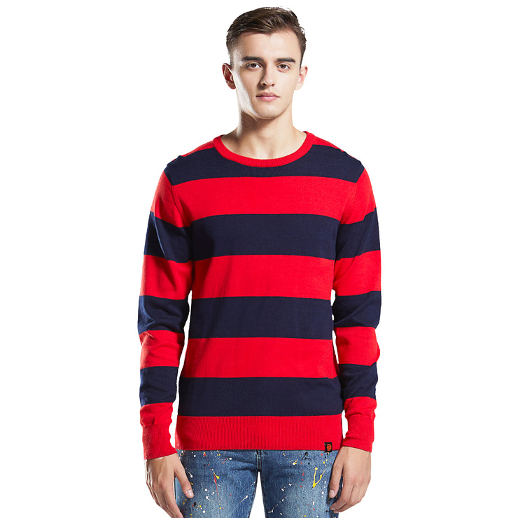 Men's Stripe cotton Knitwear Sweater  Red Blue S M L XL
