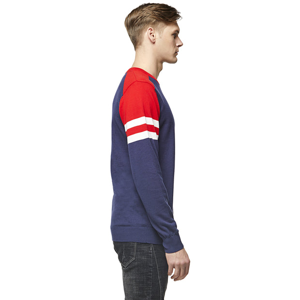 Red, Navy and White Hoop Sleeve Baseball Sweater