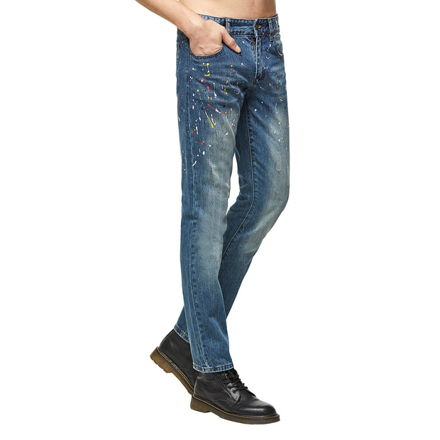 Spray Distressed Blue Jeans