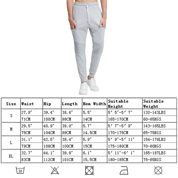 Extreme Pop Mens Tracksuit Bottoms Multi Zip Pockets Joggers Pleated Knee Pants UK Brand