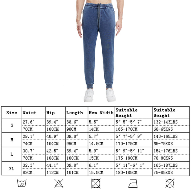 Extreme Pop Mens Joggers Bottoms Denim Terry Casual Sweatpants Cuffed Hem UK Brand