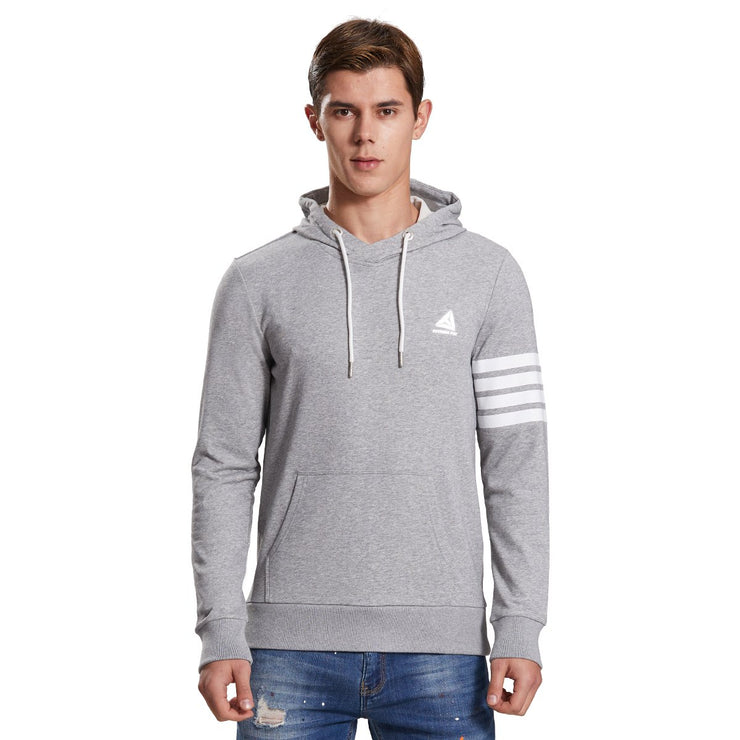 Mens Hoodie Sweatshirt Stripe Print Jumper grey or navy