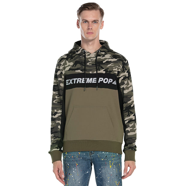 Mens Camo Panel Hooded Sweatshirt Reflective Print size S M L XL
