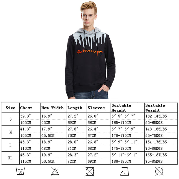 Mens Hooded Sweatshirt 3D Embroidery Pullover Graphic Print Hoodie