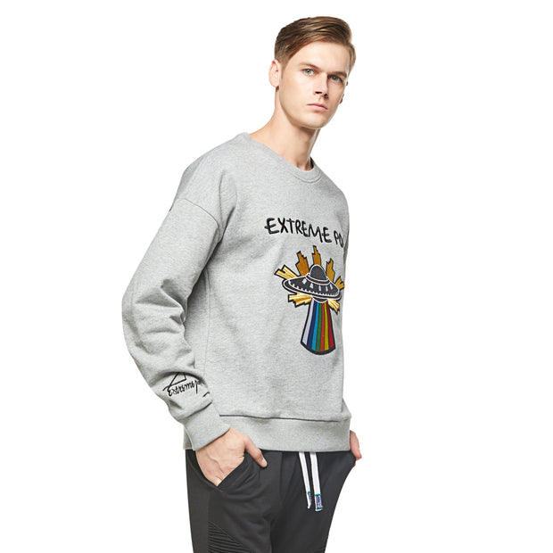 mens sweatshirt with Starship Brushed design Grey