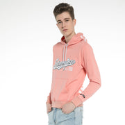 Mens Fitted Pullover Soft Pink Black Hooded Sweatshirt Stretch Jumper