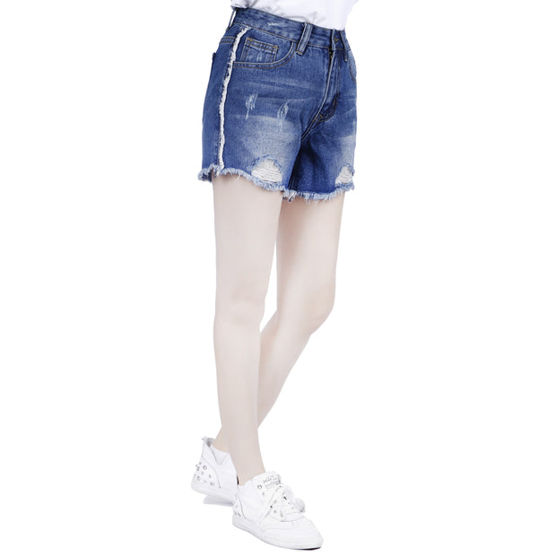 UK Womens High Waisted Shorts Jeans Ripped Denim Shorts Jeans HotPants