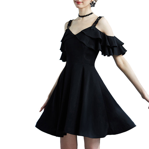 Extreme Pop Womens Skater Dresses Lotus Leaf Edge Mini Tops size S M L XL black