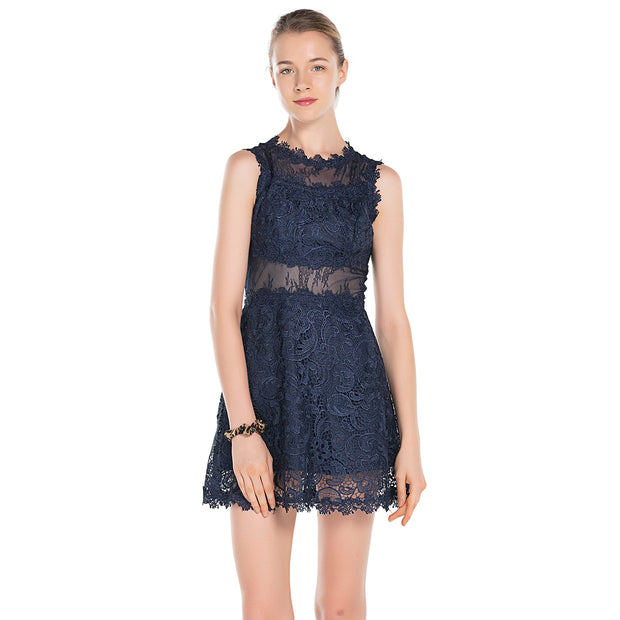 Womens Lace Mini Dress Round Neck Sleeveless Party Bodycon size S M L XL Dark blue