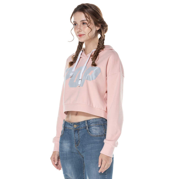 Women's Reflective Print Crop Hoodie Sweatshirt S M L XL Pink Black