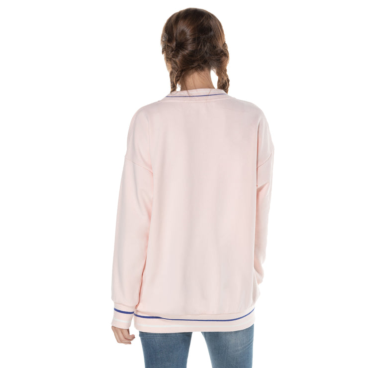 Oversize Womens Cotton French Terry Stretch Round Neck Sweatshirt Ladies Jumper Sweater S M L XL Pink Black Navy