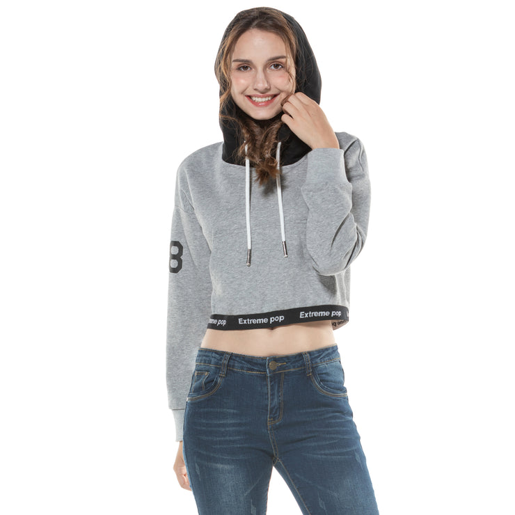 Women's Crop Hoodie Sweatshirt  S M L XL Grey Pink Black