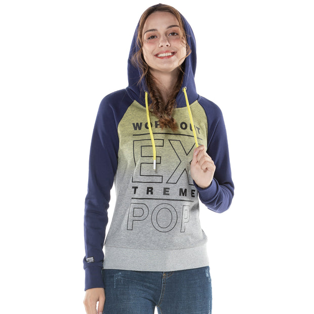 Women's Dip Dyed Raglan Hoodie Sweatshirt S M L XL Grey Navy