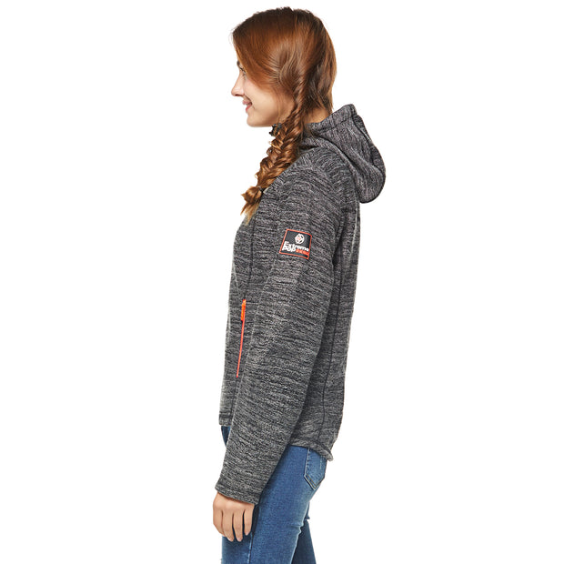 Women's Velour bond Heather Hoodie Jacket S M L XL Dark Grey
