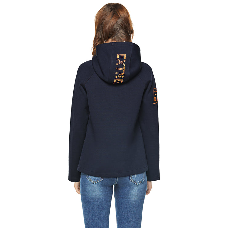 Navy Blue Knit Bonded French Terry Jacket