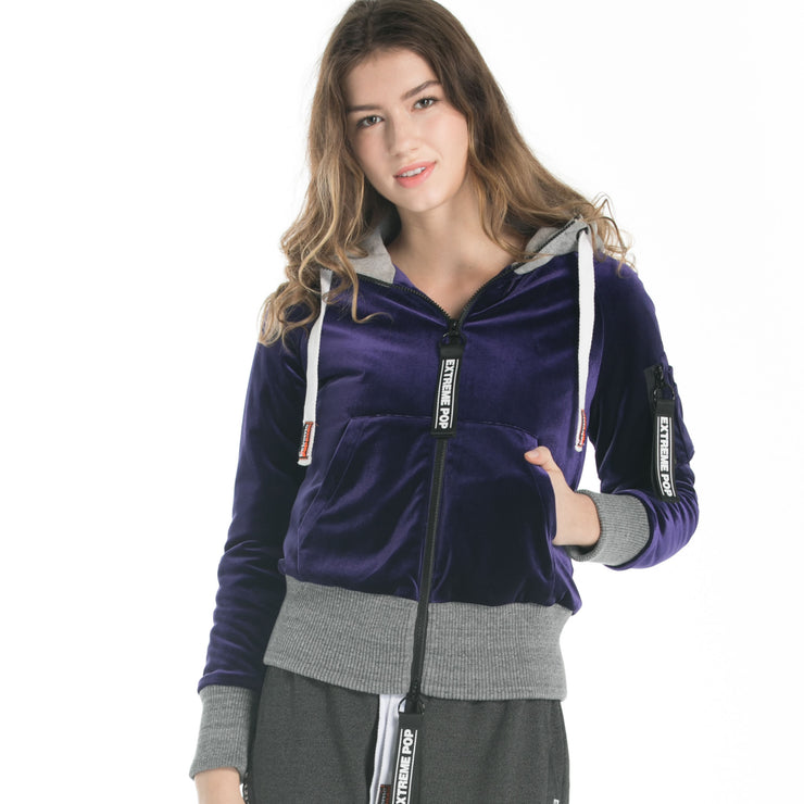 Velour Padded Zip-Up Hooded Jacket
