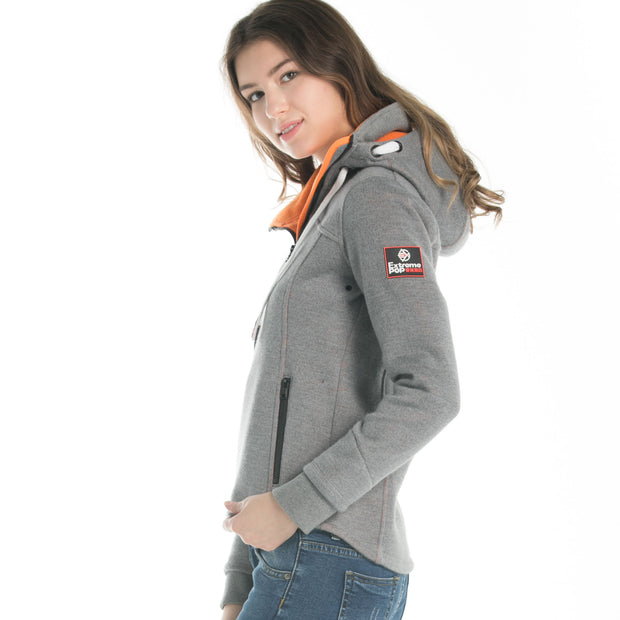 Women's	Bonded Zip-up Hoodie Jacket Grey size S M L XL
