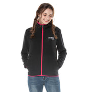 Trimmed Stretch Women's Fleece Hoodie Black and Cerise size S M L XL