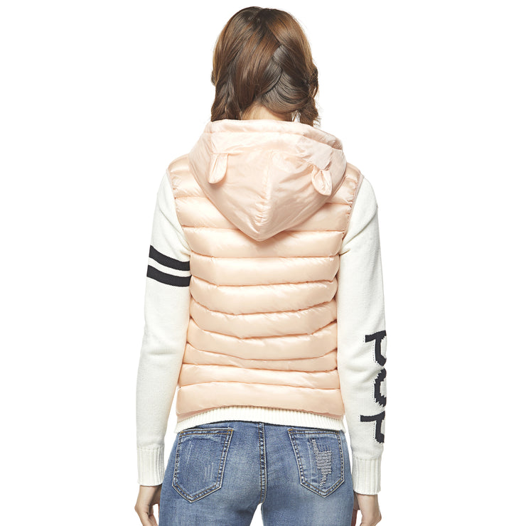 Teddy Bear Hooded Gilet - Pink