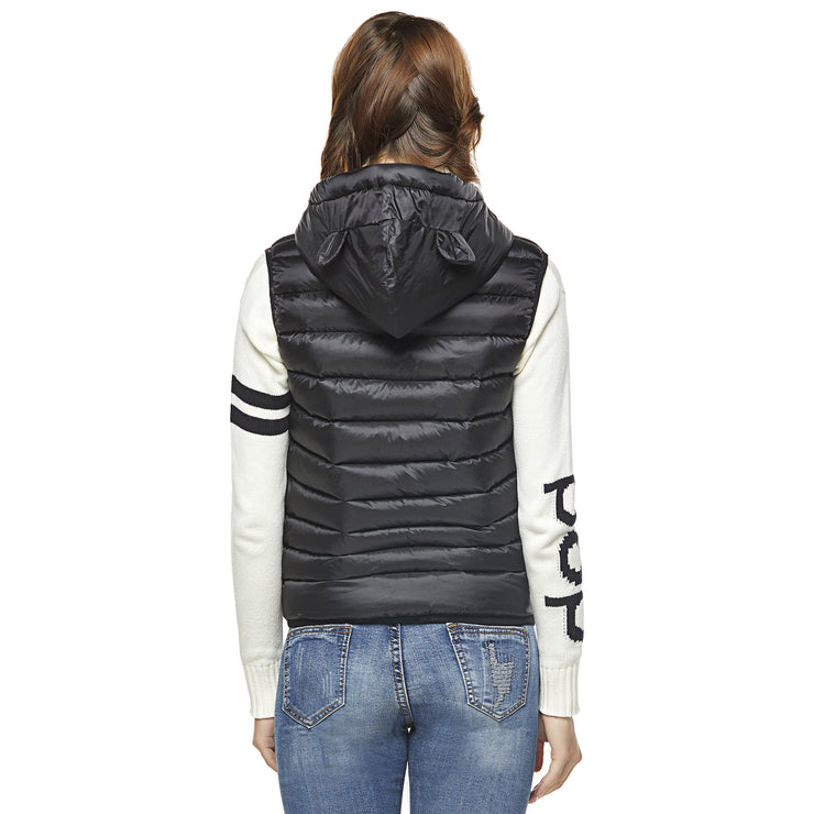 Teddy Bear Hooded Gilet - Black