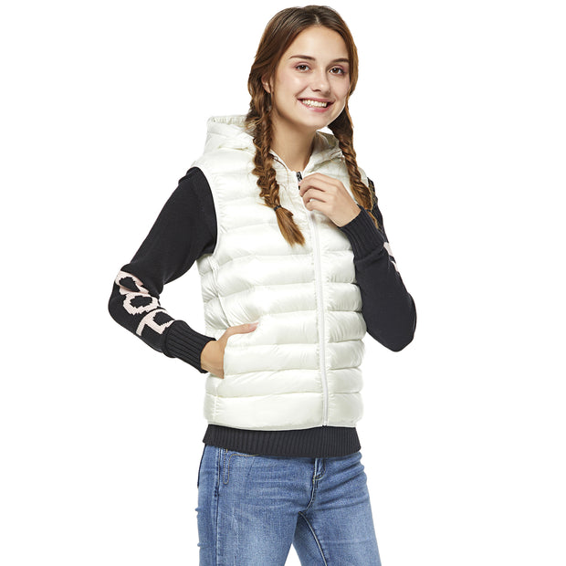 Teddy Bear Hooded Gilet - White