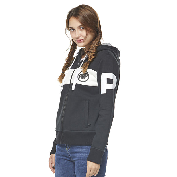 Women Hoodie Pop Band Zip-up - Black