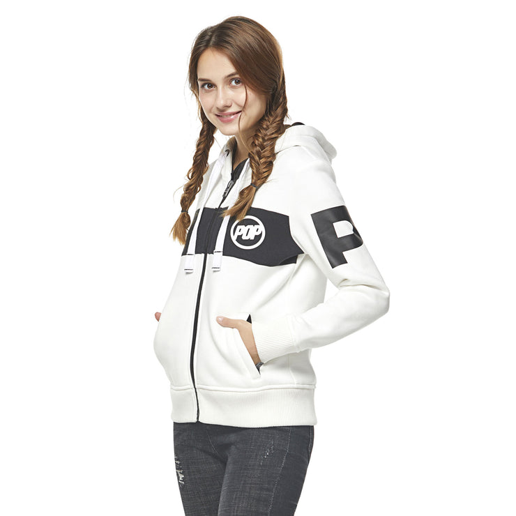 Pop Band Zip-up Hoodie - White