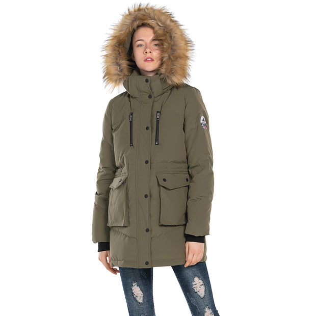 Women's Puff Parka Jacket Goose Down Hooded Waterproof Windbreaker Coat BLACK KHAKI size S M L XL