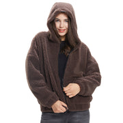 front side women oversized jacket sherpa coffee