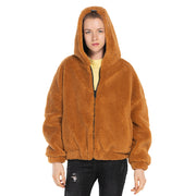 front side women oversized jacket sherpa Orange khaki