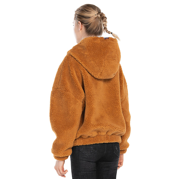 back side women oversized jacket sherpa Orange khaki