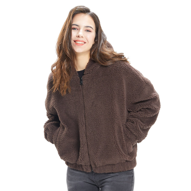 Womens Sherpa Jacket Oversized Zip Up Hoodie colours Beige, Camel, Coffee S M L XL