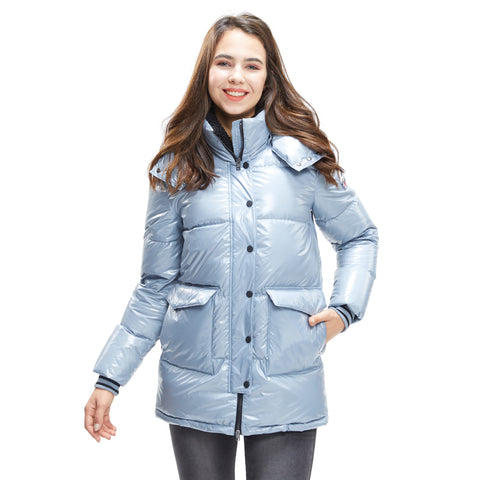 Women wear Goose Down Jacket Glossy in colour Grey blue
