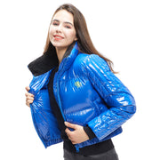 front side - Women wearing a down jacket in sapphire colour