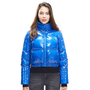 Womens Glossy Goose Down High Neck Winter jacket