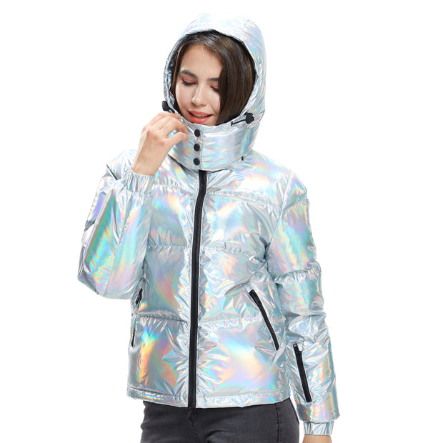 Women Winter Jacket in pure Goose Down colour Silver Puffer shiny hooded jacket