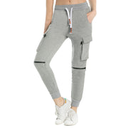 Women's Stretch Zipped Knee Sporty Joggers  Black Grey Blue S M L XL