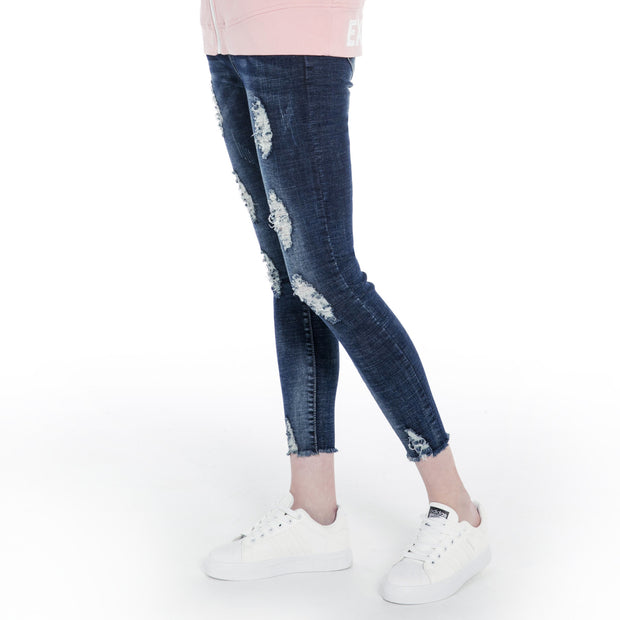 Extreme Pop Women's Jeans Damaged Slim Fit Distressed Skinny Fitted