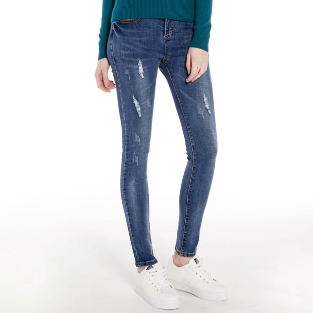 Ripped Distressed Stretch Blue Jeans