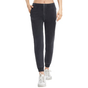 Womens Denim Joggers Terry Stretch Tracksuit Bottoms