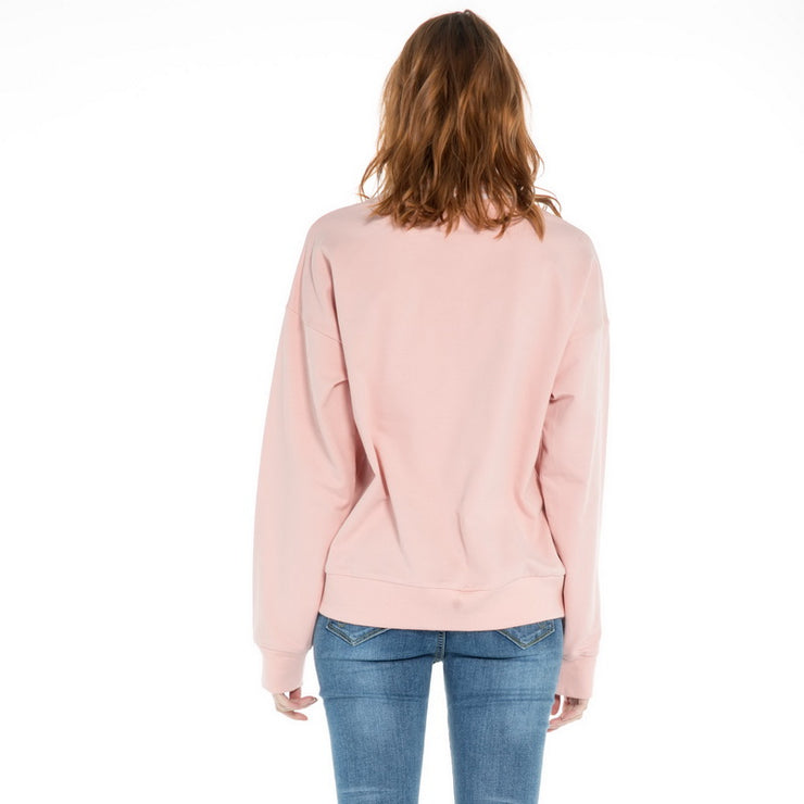 women's Loose sleeve stretch Sweatshirt S M L XL Pink White