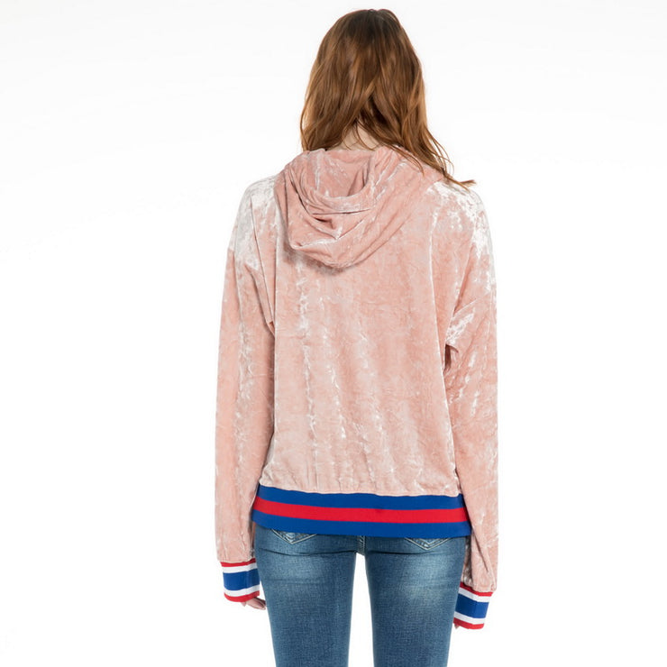Women's Velour Drop Shoulder Hoodie Sweatshirt S M L XL Navy Pink