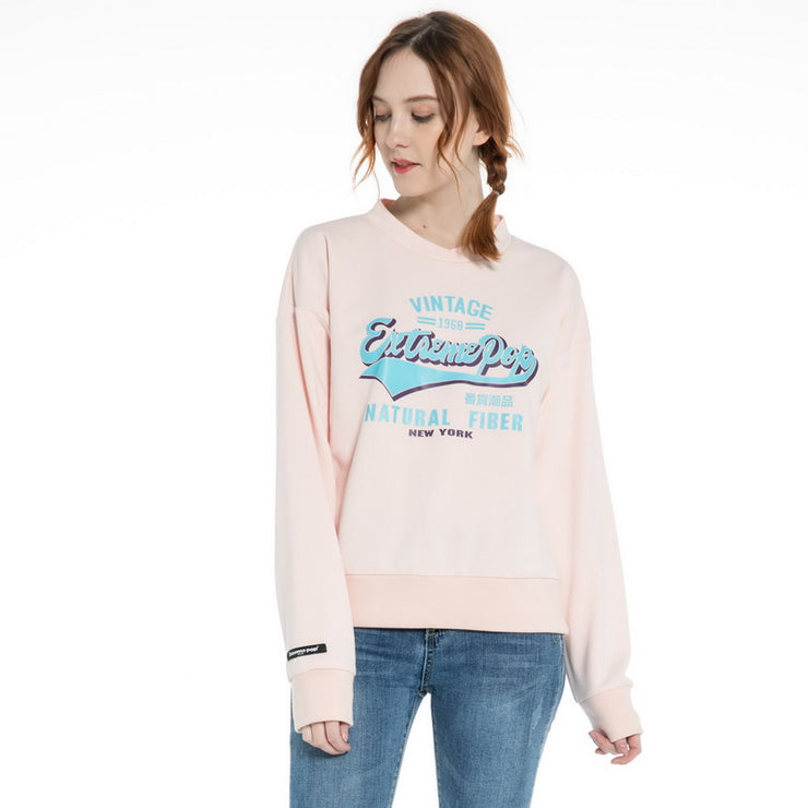 Women's Loose Sleeve  French Baby Terry Stretch Sweatshirt Jumper size S M L XL Pink White