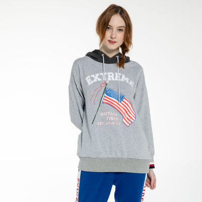 Women's Oversize Signature Hoodie Sweatshirt S M L XL Grey Black